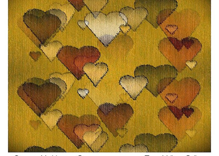 Striae Greeting Card featuring the digital art Striae To My Heart ... Greens by Terry Mulligan