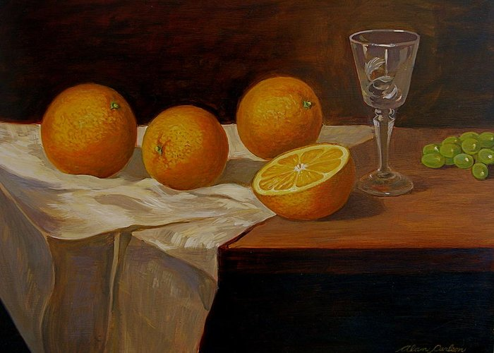 Still Life Oranges Grapes Cut Glass Greeting Card featuring the painting Study Of Oranges by Alan Carlson