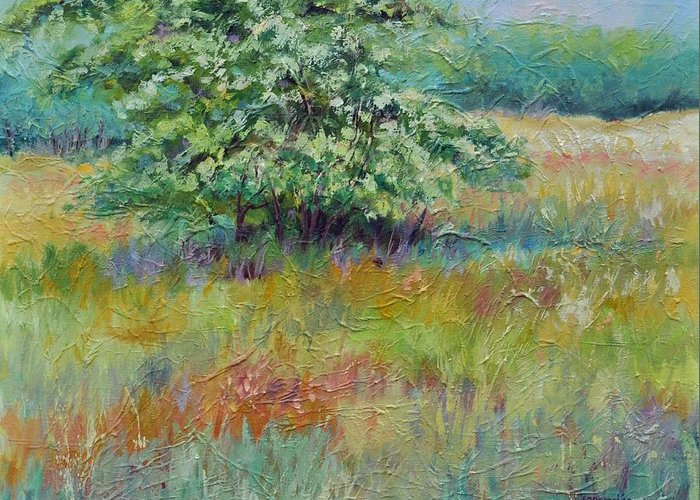 Summer Landscapes Greeting Card featuring the painting SummerTree by Ginger Concepcion