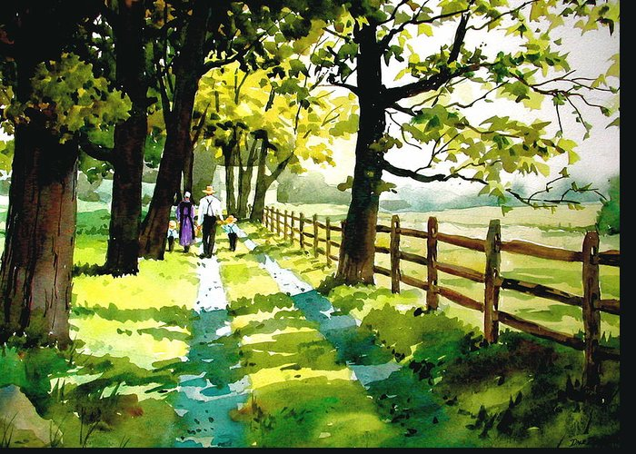 Amish Greeting Card featuring the painting Sunday Afternoon by Faye Ziegler