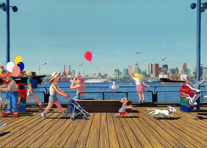 People Greeting Card featuring the painting Sunday Morning Lonsdale Quay by Neil Woodward