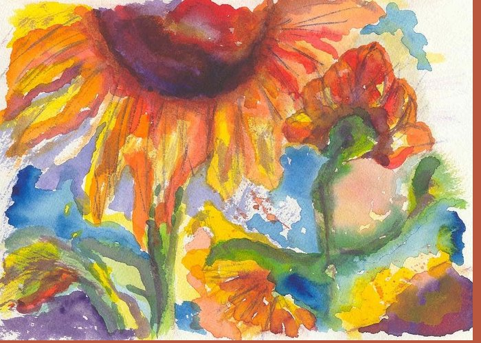 Flowers Greeting Card featuring the painting Sunflower I by William Burgess