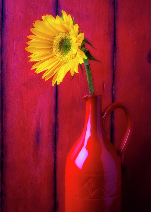 Color Greeting Card featuring the photograph Sunflower In Red Pitcher by Garry Gay