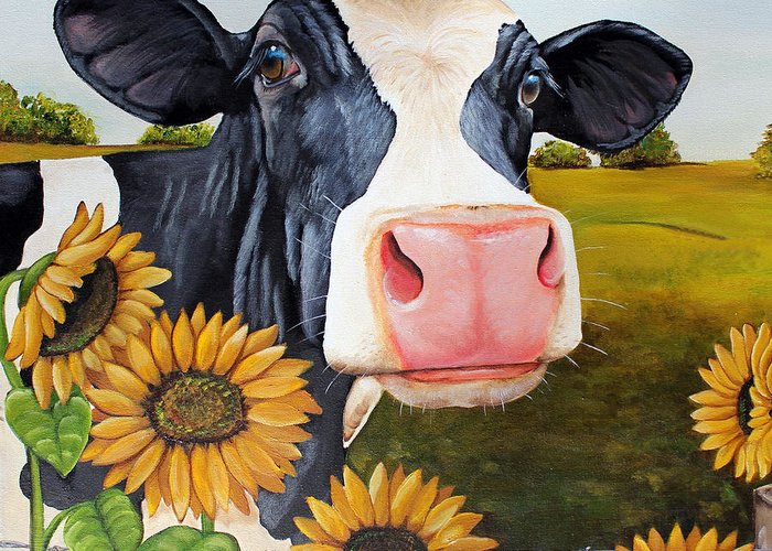 Cow Greeting Card featuring the painting Sunflower Sally by Laura Carey