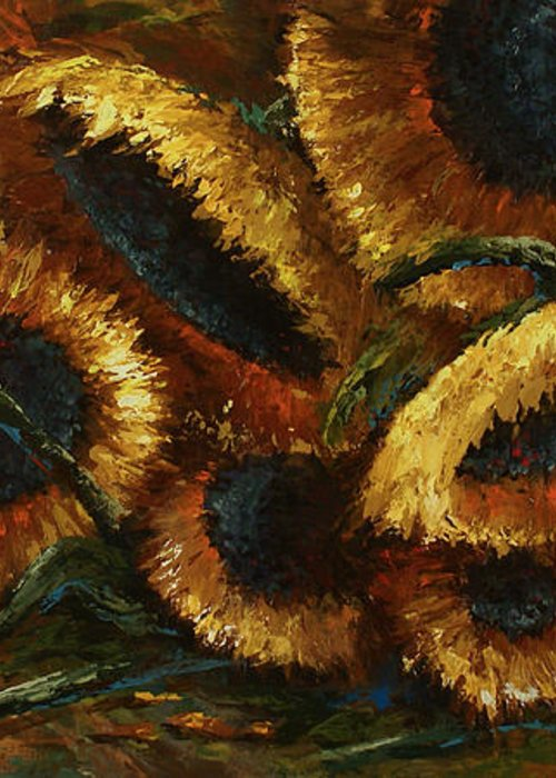 Sunflowers Greeting Card featuring the painting Sunflowers by Michael Lang