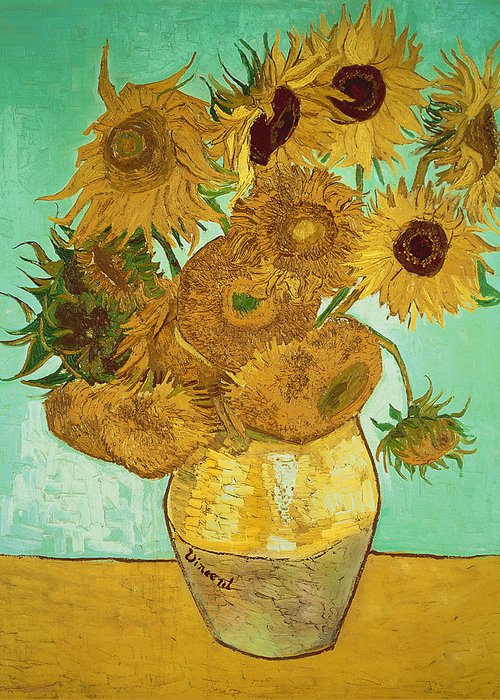 Sunflowers Greeting Card featuring the painting Sunflowers by Vincent Van Gogh