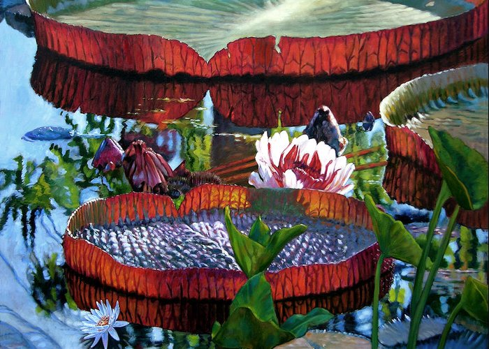 Water Lilies Greeting Card featuring the painting Sunlight Shining Through by John Lautermilch