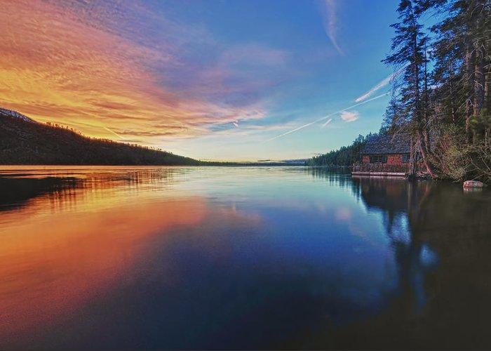Fallen Greeting Card featuring the photograph Sunset At Fallen Leaf Lake by Jacek Joniec