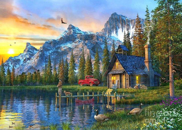 Mountain Cabin Digital Art Greeting Cards