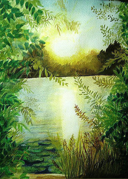 Landscape Greeting Card featuring the painting Sunset At Mill Lake by Vi Mosley