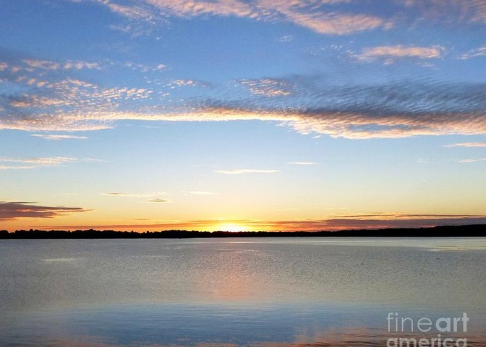 Landscape Greeting Card featuring the photograph Sunset On Delta Lake by Rennae Christman