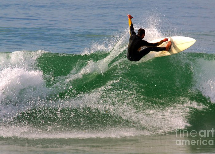 Active Greeting Card featuring the photograph Surfer by Carlos Caetano
