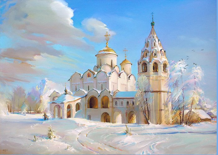 Suzdal Greeting Card featuring the painting Suzdal. Pokrov Cathedral by Roman Romanov