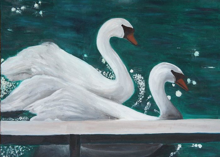 Animals Greeting Card featuring the painting Swans by Taly Bar