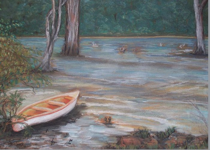 White Canoe Greeting Card featuring the pastel Take-a-break by Roz Jenkins