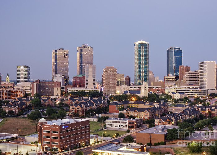 Apartment Greeting Card featuring the photograph Tall Buildings In Fort Worth At Dusk by Jeremy Woodhouse
