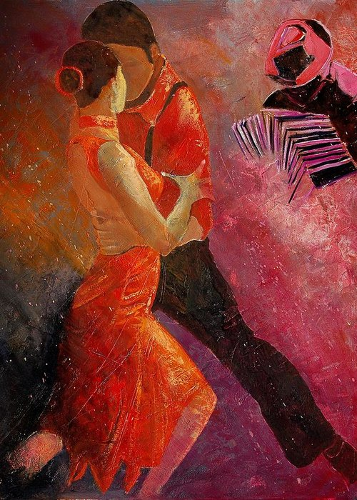 Tango Greeting Card featuring the painting Tango by Pol Ledent