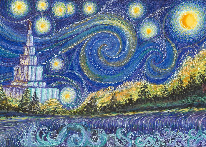 Favorite Greeting Card featuring the painting Temple Night by Rachel Roberts