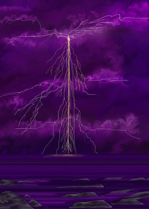 Lightning Storm Greeting Card featuring the painting Tesla by Anne Norskog