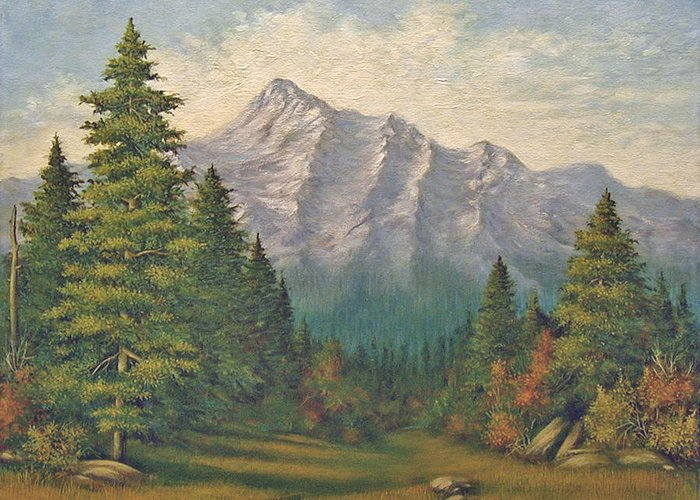 Landscape Greeting Card featuring the painting Teton Meadow by Norman Engel
