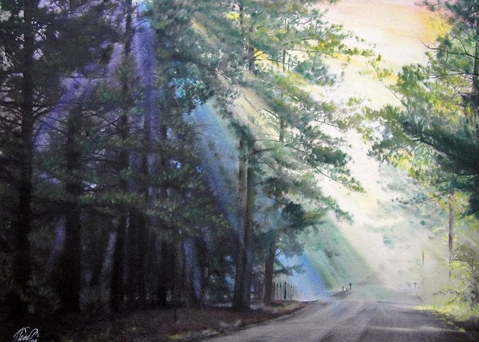 Landscape Greeting Card featuring the pastel Texas Morning by Tess Lee