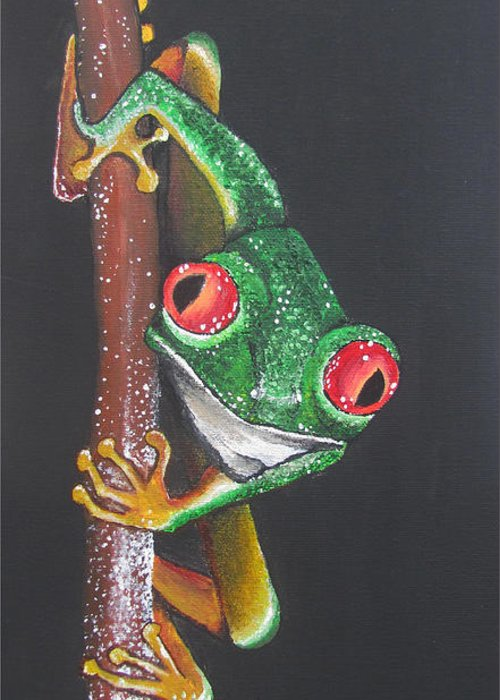 Frog Greeting Card featuring the painting That Makes You The Fly by Sharon Supplee