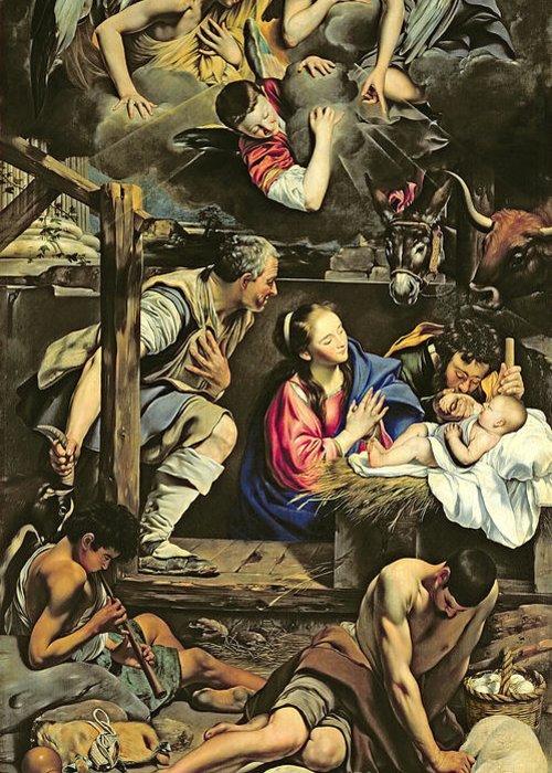 The Adoration Of The Shepherds Greeting Card featuring the painting The Adoration Of The Shepherds by Fray Juan Batista Maino or Mayno