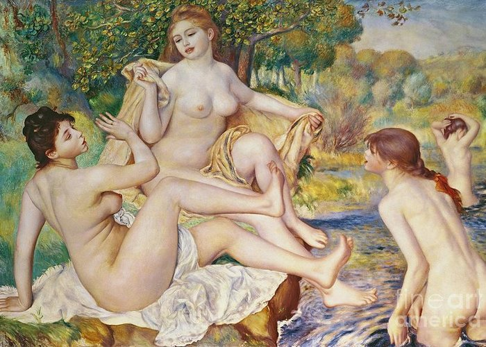 The Greeting Card featuring the painting The Bathers by Pierre Auguste Renoir