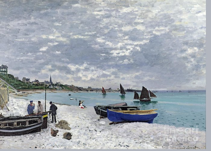 Coastal;french;rowing Boat;sailing;sainte Adresse; Boats Greeting Card featuring the painting The Beach At Sainte Adresse 1 by Claude Monet