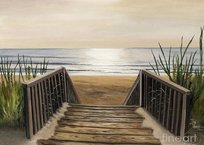 Beach Painting Greeting Card featuring the painting The Beach by Toni Thorne