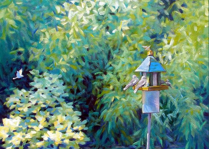Birds Greeting Card featuring the painting The Bird Feeder by Kevin Lawrence Leveque