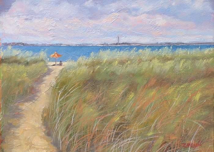New England Greeting Card featuring the painting The Cape by Laura Lee Zanghetti