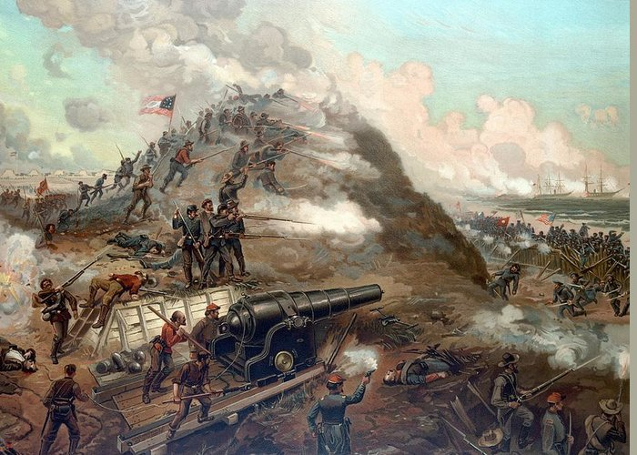 Civil War Greeting Card featuring the painting The Capture Of Fort Fisher by War Is Hell Store