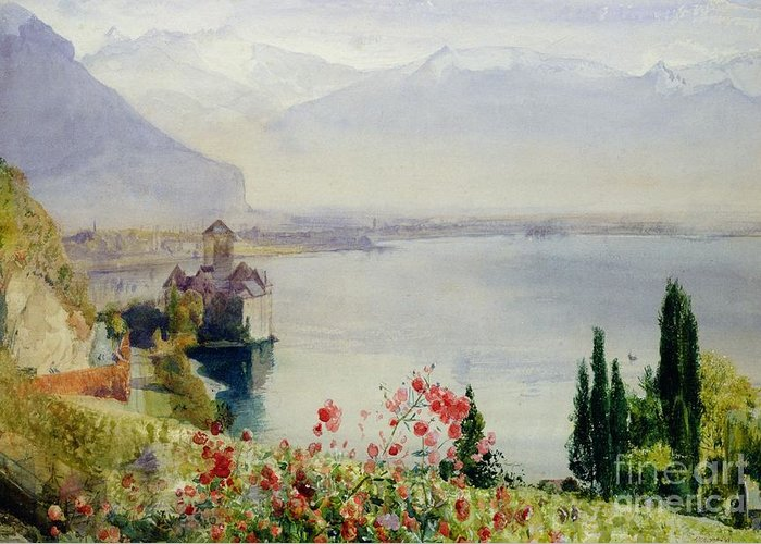 The Castle At Chillon Greeting Card featuring the painting The Castle At Chillon by John William Inchbold
