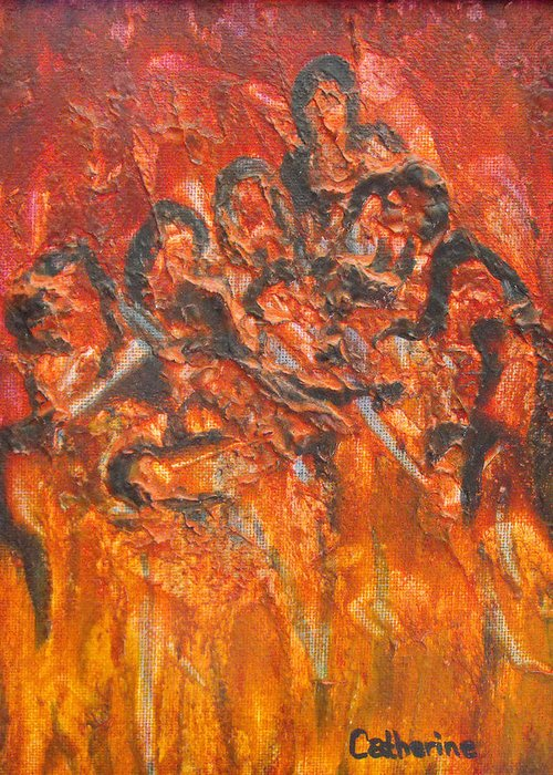 Hades Greeting Card featuring the painting The Damned by Catherine Sprague