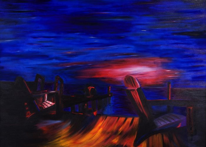 Dock Greeting Card featuring the painting The Dock by Christopher Hardman