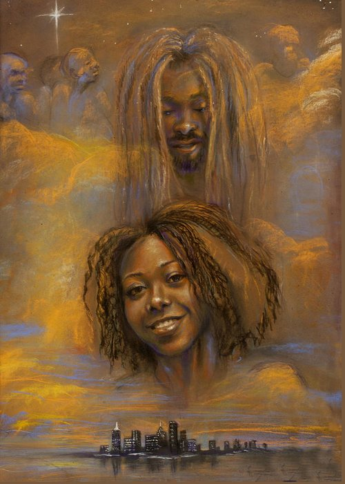 Pastels Greeting Card featuring the pastel The Faces Of God by Gary Williams