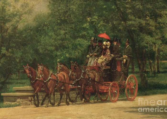The Greeting Card featuring the painting The Fairman Rogers Coach And Four by Thomas Cowperthwait Eakins
