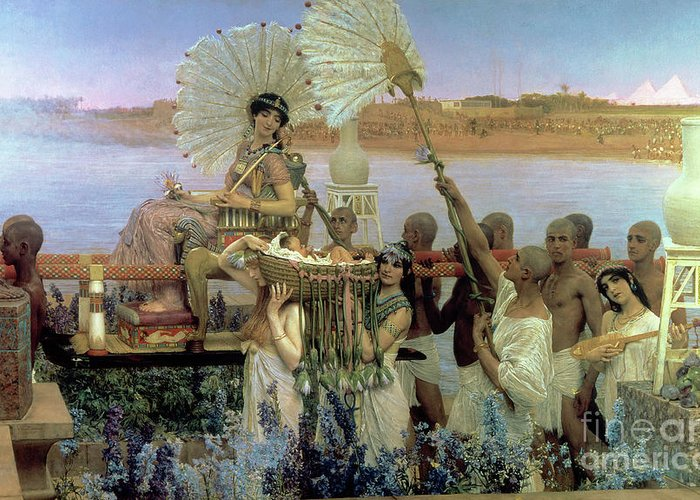 The Finding Of Moses By Pharaoh's Daughter Greeting Card featuring the painting The Finding Of Moses by Sir Lawrence Alma Tadema