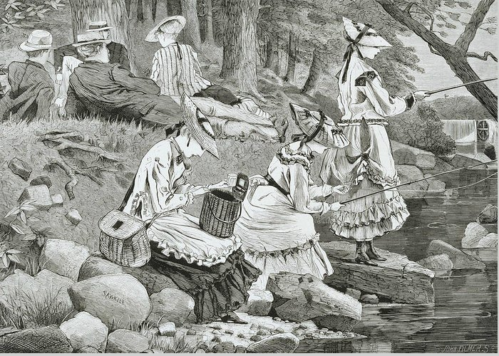Woman Fishing Greeting Cards