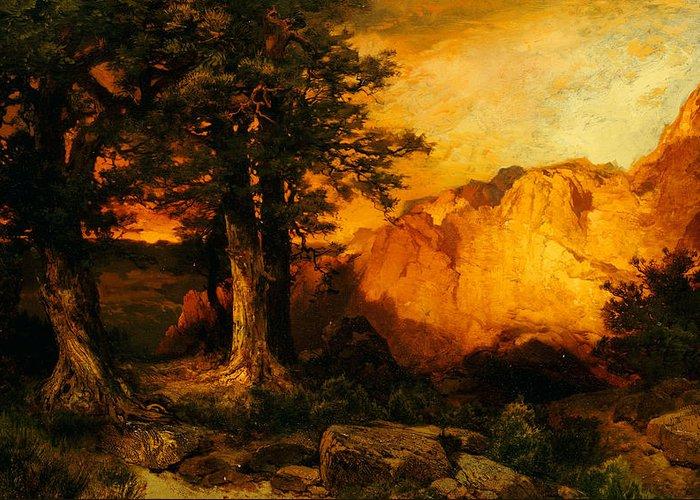Thomas Moran Greeting Card featuring the painting The Grand Canyon by Thomas Moran