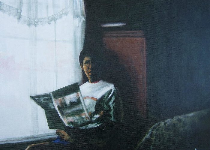Portrait Greeting Card featuring the painting The Guest Room by Howard Stroman
