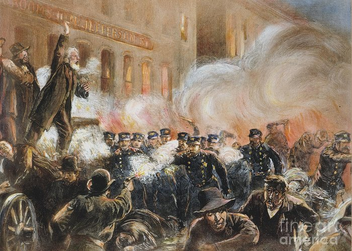 1886 Greeting Card featuring the photograph The Haymarket Riot, 1886 by Granger