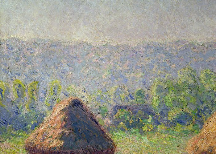 The Greeting Card featuring the painting The Haystacks by Claude Monet