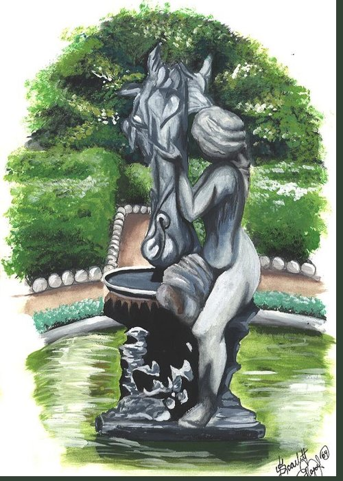 Fountain Greeting Card featuring the painting The Hidden Fountain by Scarlett Royal