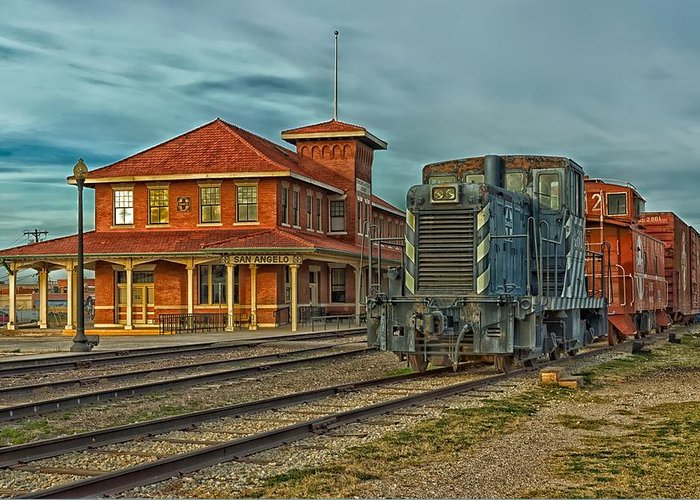 San Angelo Greeting Card featuring the photograph The Historic Santa Fe Railroad Station by Mountain Dreams