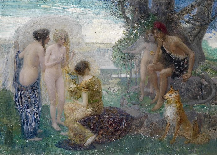 Eduard Veith Greeting Card featuring the painting The Judgement Of Paris by Eduard Veith