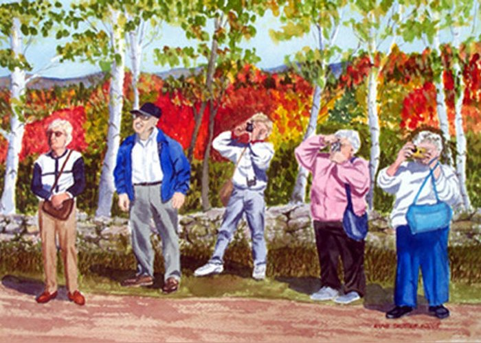 People Greeting Card featuring the painting The Leaf Peepers by Anne Trotter Hodge