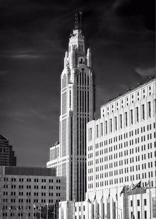 Leveque Tower Greeting Card featuring the photograph The Leveque Tower Of Columbus Ohio by Mountain Dreams
