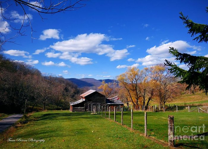 West Virginia Mountain Landscape Greeting Card featuring the photograph The Log Barn by Teena Bowers